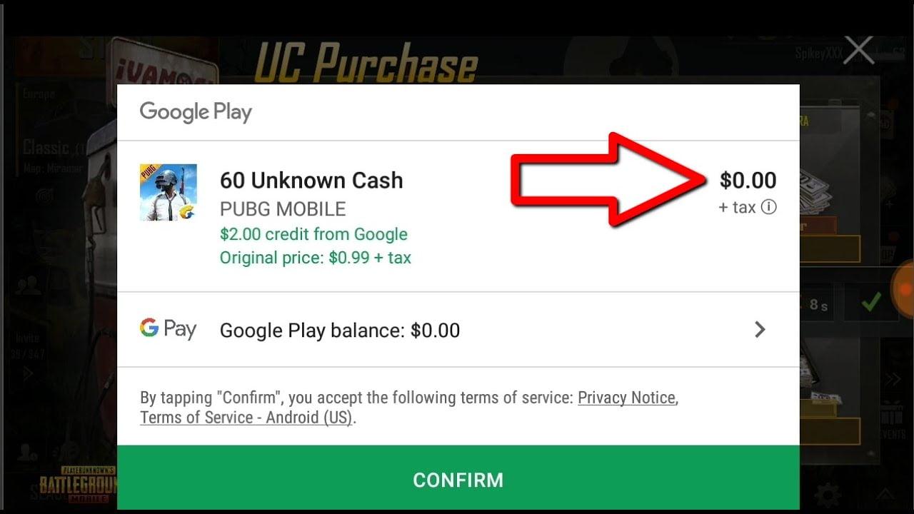 Convert Google Credit into PUBG UC