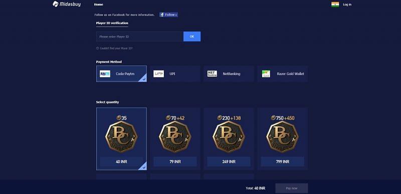 PUBG mobile lite payment center