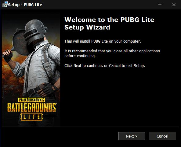 PUBG Lite Setup wizard