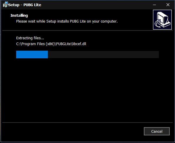 installation process of PUBG Lite on PC