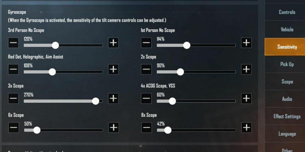 best sensitivity for pubg mobile with gyroscope